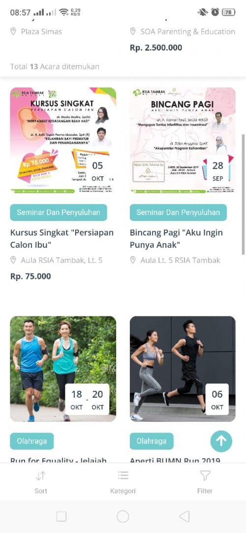 Acara kesehatan di aplikasi SehatQ