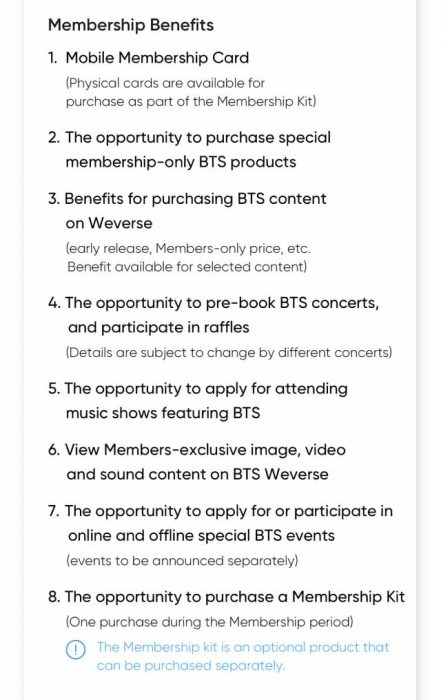 Benefit BTS ARMY Membership