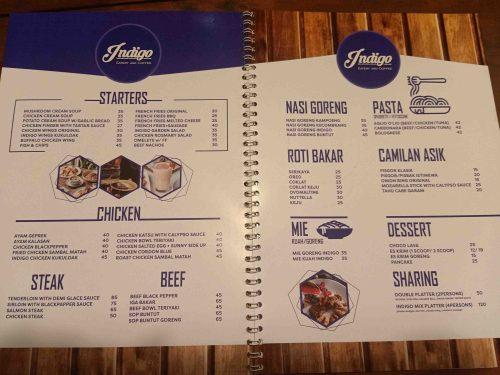 Menu Indigo Cafe Bogor