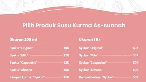 Pricelist Susu Kurma Syukur As-Sunnah